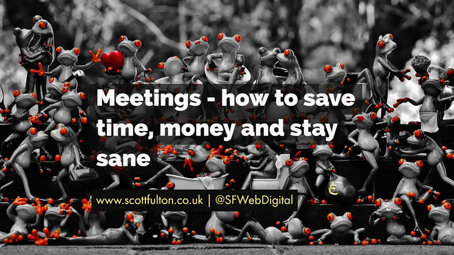 Meetings - how to save time, money and stay same - with a picture of frogs climbing over each other