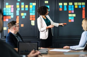 A lady presenting to a team using coloured post its on a wall